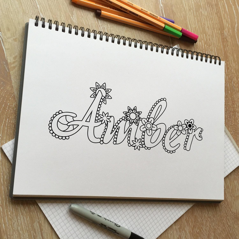 Excepcional Nombre Personalizado Para Colorear Ilustración - Dibujos ...