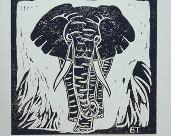 Linocut Print – ELEPHANT