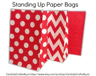 Set of 12, 24 Red - Chevron, Polka Dots, Plain (Solid)Paper Bag Flat Bottom Bags, Gift Bags, Party, Lolly,Favour, Wedding, Packaging, Loot