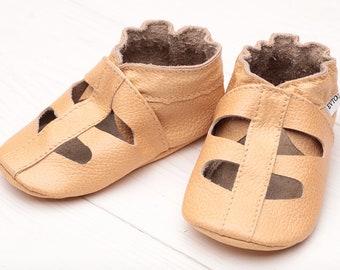 SALE -50% Leather baby shoes Soft sole infant shoes, Boys Baby leather sandals Girls, Unisex kids' shoes Gift, Beige Evtodi, Krabbelschuhe