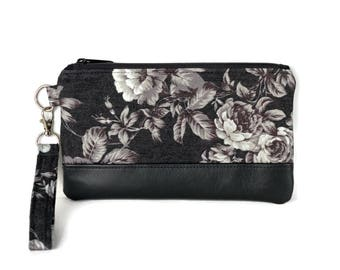 Floral Wristlet Purse - Cute Clutch -  Cell phone purse - Small purse