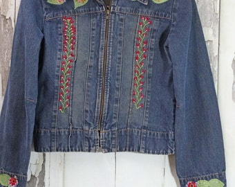 Embroidered Upcycled Jean Jacket, Boho Chic, Wearable Art, Upcycled Clothing, Upcycled Denim, Junk Gypsy