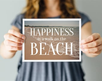 Happiness is a walk on the Beach - Word Art Print - Cottage Life Quote