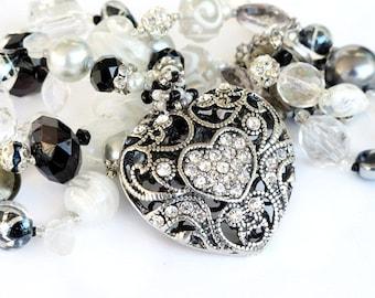 Silver heart long beaded necklace silver black white handmade