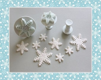 """Cutter ejectors 3: """"Snowflake"""" shape - 3 different sizes"""