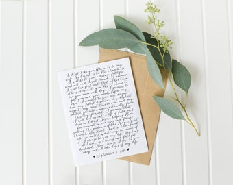 calligraphy wedding vows, Christmas gift for wife, wedding vow art, 1st anniversary gift, unique Christmas gift for husband, vow renewal