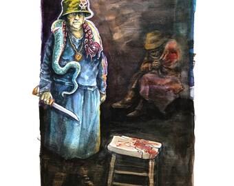 The Cut - Horror art i watercolor - Digital copy