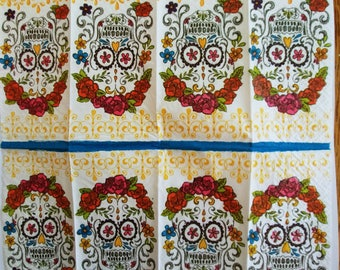 4 pocket tissues  for decoupage sugar skull day of dead Dia de muertos
