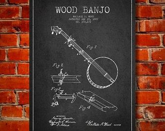 1887 Wood Banjo Patent, Canvas Print, Wall Art, Home Decor, Gift Idea
