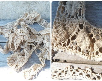 Antique 1900 Edwardian French batch of handmade cream cotton lace 9 yards