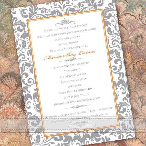 wedding invitations, silver wedding invitations, wedding package, wedding thank you cards, tangerine wedding invitations, IN434