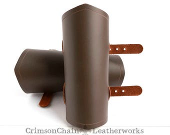 Medium brown plain bracers by Crimson Chain Leatherworks - SCA Larp Renactment Garb