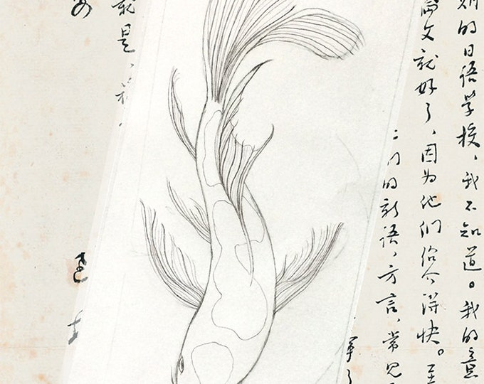 189 Koi Drawing card | Chinese Paper | Royalty Seal