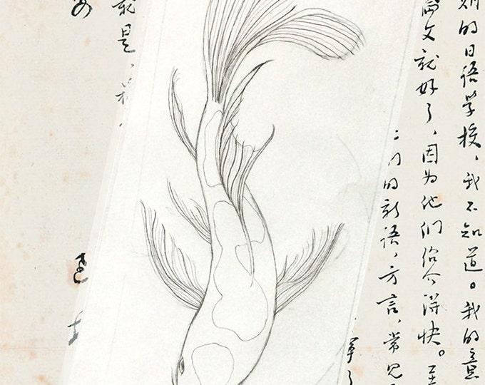 189 Koi Drawing card | Chinese Paper | Royalty Seal