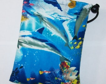 "Pipe Pouch, Ocean Life, Pipe Case, Pipe Bag, Sea Bag, Padded Pipe Pouch, 420, Stoner Gift, Animal Bag, Pipe Cozy, Smoke Bag - 7"" DRAWSTRING"