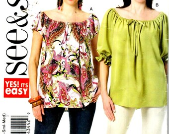 SALE* Butterick 5480, Sz 4-14,SEE & SEW pattern, Romantic off-shoulder top with short/Long sleeves, Misses pattern,English/French directions