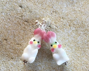 Easter Earrings, Easter Jewelry, Easter Gift, Bunny Earrings, Lampwork Earrings, Glass Earrings, Gift For Her