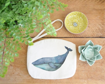 Blue Whale Canvas Zip Bag, Makeup Bag, Coin Purse, Small Accessory Pouch, Stocking Filler, Whale Gift