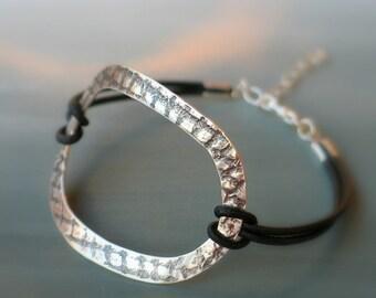 Leather wrap sterling silver bracelet