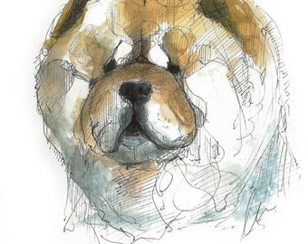 Chow Chow, illustration in watercolor, sheet A5, A4 or A3, dog art