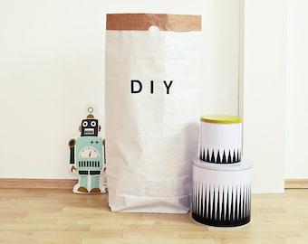 DIY Paper Sack, Paperbag, paper bag, for self-designing, storage, box, crate, Toy Box, nursery, Utensilo