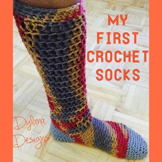 Crochet Socks Pattern PDF, 3 sizes, Easy Crochet Slipper Socks ...