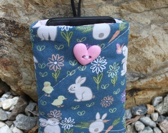 Padded phone cover , cell phone cover, ipod case , gadget case, rabbit print fabric. phone sleeve protector