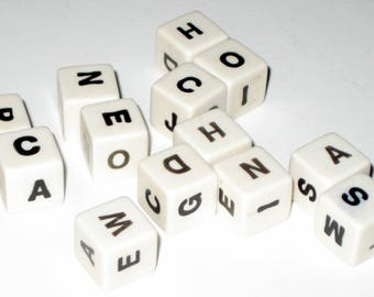Vintage  (1957) Spill and Spell Letter Dice Cubes for Altered Art