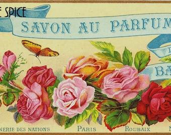French Vintage Soap Label Balkans jpeg instant digital download