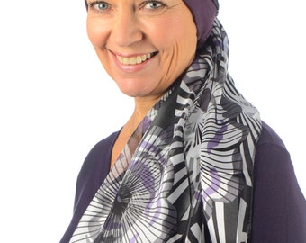 Sienna - Jersey Cotton Hat with Chiffon Scarf for Cancer, Chemo and Hair Loss