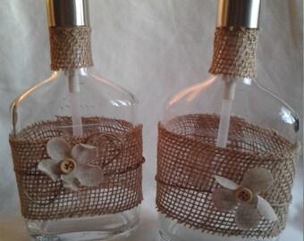 Burlap Wrapped Liquor Bottle Soap Dispenser