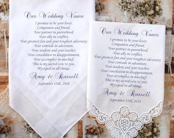 Set of 2 Wedding Vows handkerchiefs set of 2 handkerchiefs for the Bride and Groom, Our Wedding Vows, PRINTED handkerchiefs - BroMono[B3]