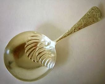 Vintage Embossed Sterling Silver Tea Caddy Spoon London 1930
