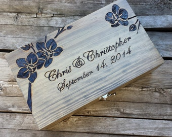 Rustic Wedding Custom Engraved & Personalized Double Wine Box, First Fight Box, Card box, Memory Box for your Wedding or Special Occasion