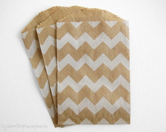 300  Bitty Bags - 2.75 x 4 Kraft with White Chevron Stripe Bags for Party Favors, Gift Cards, Bakery or Boutique Wrapping
