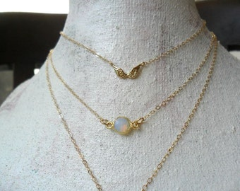 Dainty Opal Layering Necklace / October Birthstone Gift for her Everyday Simple Jewelry  Layering Minimal Gold filled Delicate Necklace