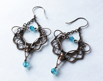 Big and bold antique copper earrings