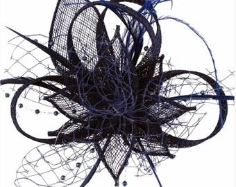 Navy, dark blue, royal blue, Fascinator, hat, Fascinators, Fascinator hat, wedding, derby, ladies, races, hair accessory, derby hat