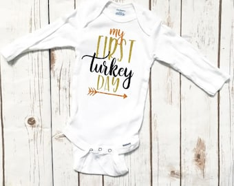 My first turkey day, baby onepiece , baby Thanksgiving shirt, bodysuit, baby's first time, baby pumpkin one sie, my first thanksgiving