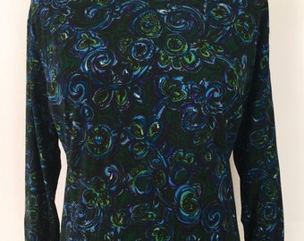 Vintage 1960s Blue and Green Print Shift Style Dress by 'Greville'