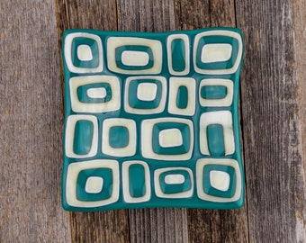 Glass Dish/ Plate/ Funky/ Fused Glass/ Trinket Dish/ Square Plate/ Candy Dish/ Jewelry/ Home Decor