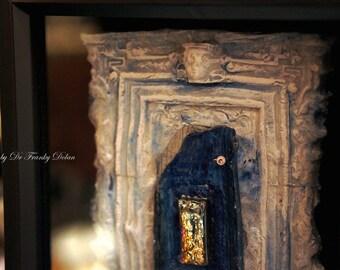 Fairy Door: BLUE HEAVEN. Faerie Dream Door sculpture dollhouse, furniture, gnome, by Fae Factory Artist Dr Franky Dolan (House Fantasy Art)