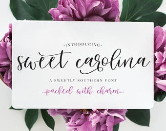 Sweet Carolina Script Font, handwritten font, handlettered font, personal and/or commercial use with license