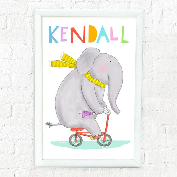 Whimsical personalized elephant art print for child, elephant on bike, custom art for kids, baby shower gift, cute elephant print, baby gift
