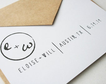 Wedding Save the Date in White /  Eco Kraft Brown -- The Austin -- Customizable Set -- CHOOSE YOUR QUANTITY