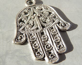 3 charms hand of Fatima 28 x 21 mm - Silver (BP1801)