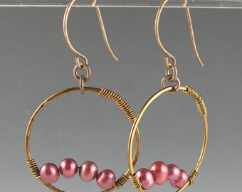 Boho Gypsy Bronze Cranberry Pink Pearl Long Dangle Hoop Earrings with Vintaj Antiqued Brass