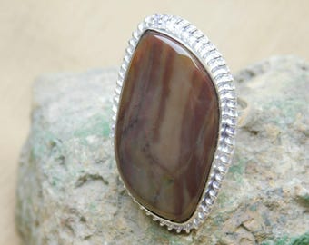 Samsonite jasper Ring-925 Sterling silver Ring-Samsonite jasper Fancy 17x32mm Micron Silver Plated Ring-Silver Ring