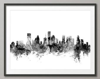 Houston Skyline, Houston Texas Cityscape Art Print (1493)