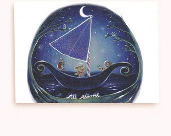 Whimsical bon voyage greeting card: moon, sailing ,adventure, eco-friendly